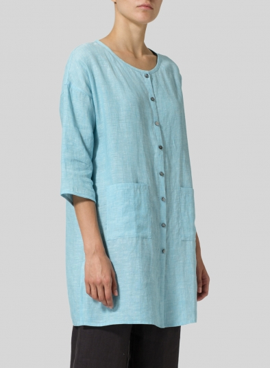 Linen Round Neck Button Front Top