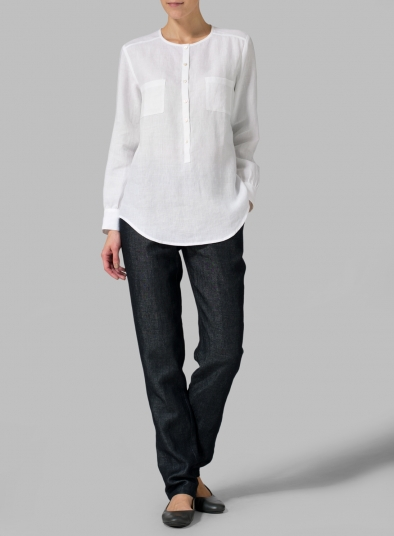 Linen Round Neck Long Sleeve Shirt