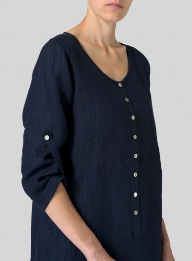 Linen Half Button Long Top