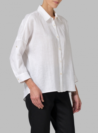 Linen Crop Sleeve Boxy Shirt
