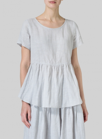 Linen Short Sleeve Pleated Blouse