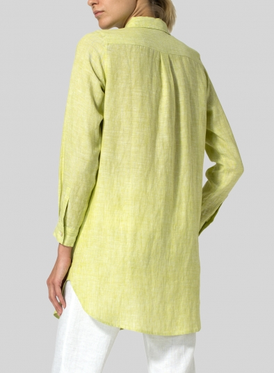 Linen L/S Solid Basic Button Front Long Blouse