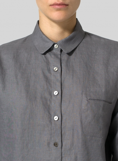 Linen Straight Fit Long Sleeve Shirt