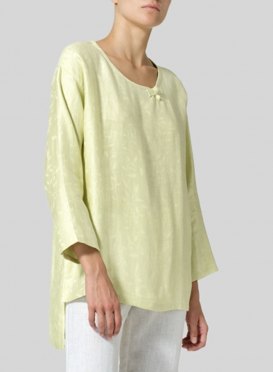 Linen Scoop Neck Patterned Tunic