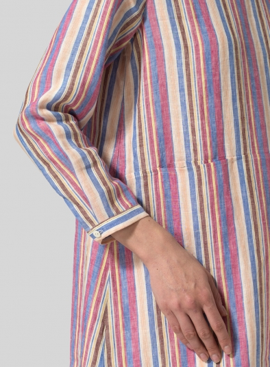 Linen Stripe Slip-On Shift Dress
