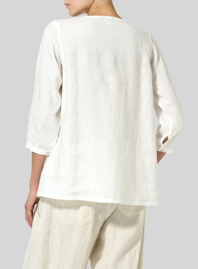 Linen Half Sleeve Inverted Front Pleat Blouse