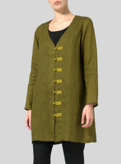 Two Tone Linen Handmade Knot Buttons Top