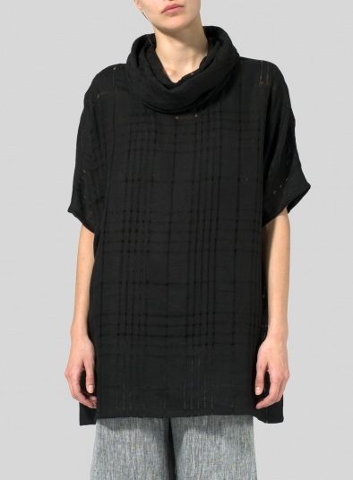 Plaid Sheer Linen Turtleneck Tunic
