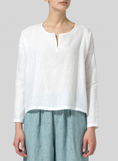 Linen V-neck Boxy Top