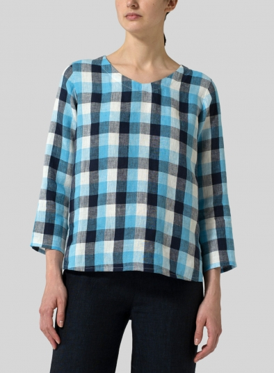 Linen Plaid V-neck Top