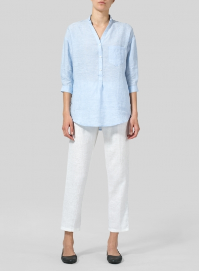 Linen Blouse With V-neck Mandarin Collar