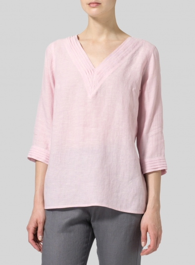 Linen V-neckline Pleated Top