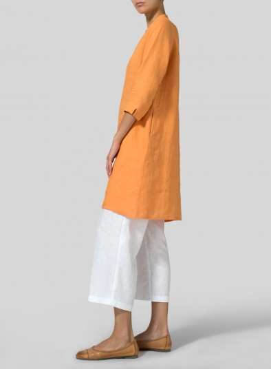 Linen V-neck Mandarin Collar Tunic