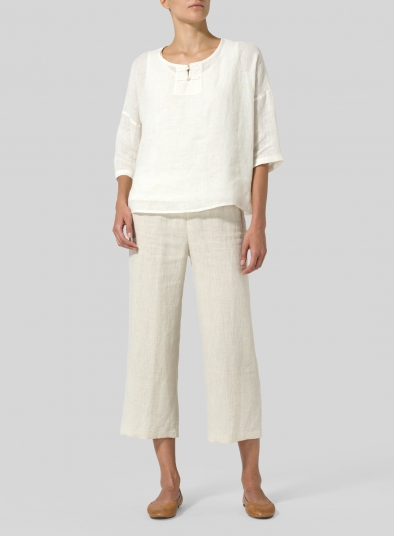 Lightweight Linen Dropped Shoulder Top
