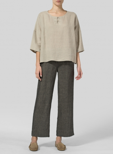 Linen 3/4-Sleeve Round-Neck Box Top