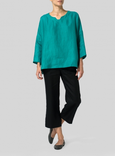 Linen Notch Square Neckline Top
