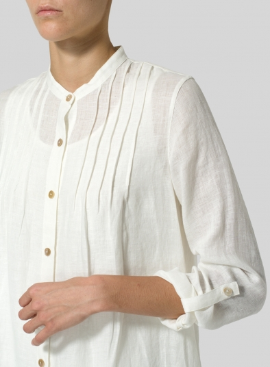 Linen A-Line Long Sleeve Tunic