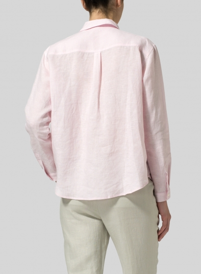 Linen Front Pleated Shirt