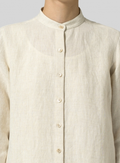 Linen Mandarin Collar Long Sleeve Jacket