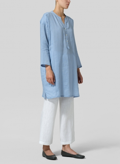 Linen Long Popover Top