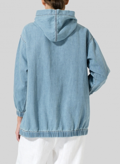 Linen Oversized Denim Hoodie Top