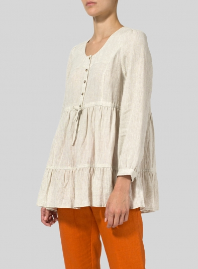 Linen Tiered Pullover Top