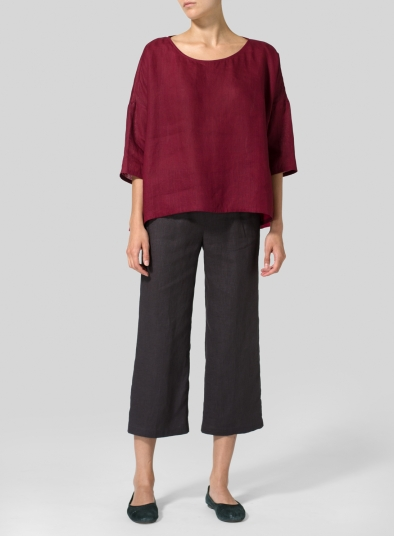 Linen Contrast Dropped Shoulder Top