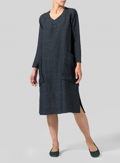 Linen Long Sleeve Heart Neck Tunic