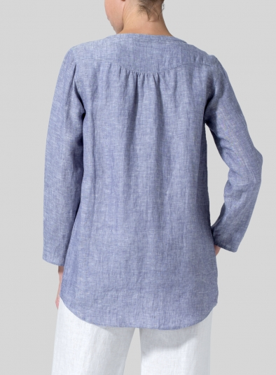 Linen Long Sleeve Round Neck Top
