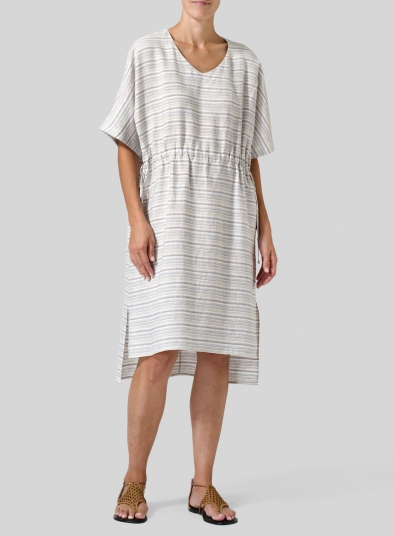 Linen Soft Stripes V-Neck Dress