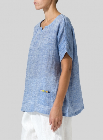 Linen Doublecloth Short Sleeve Top