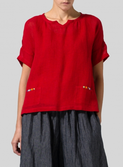Linen Embroider Pocket Lightweight Top