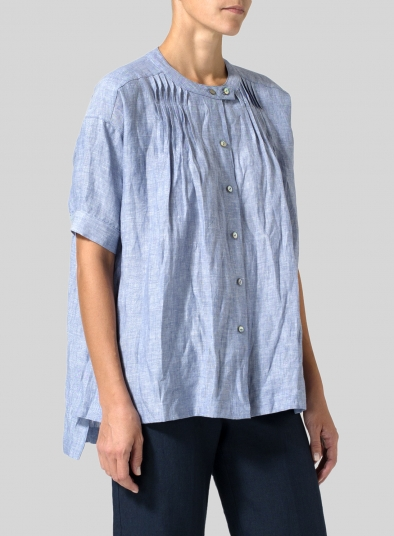 Linen Pintucked Short Sleeves Blouse