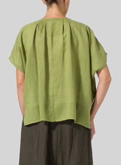 Linen Pleated Back Blouse