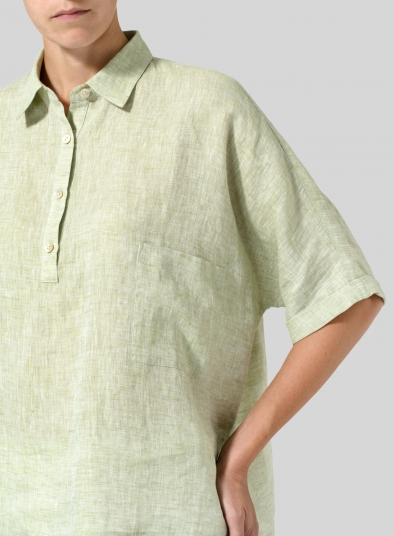 Linen Classic Collar Short Sleeves Shirt