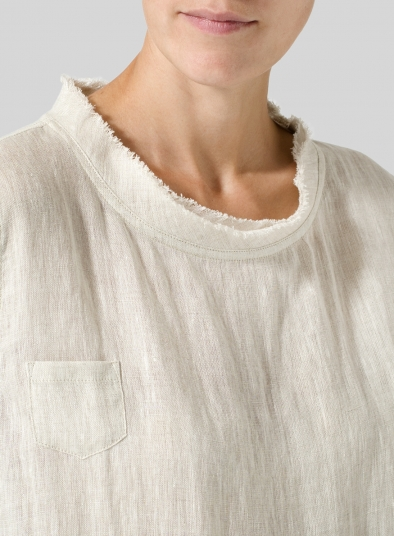 Linen Band Collar Top