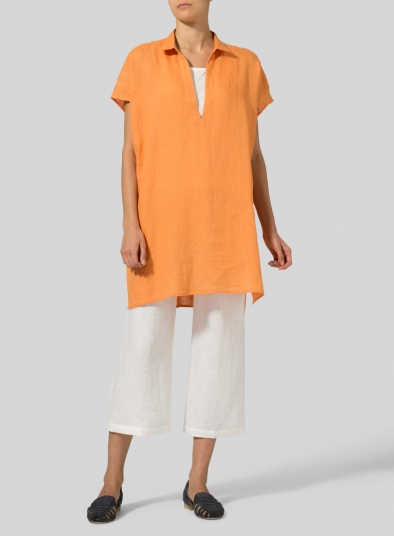 Linen Short Sleeve Deep V-Neck Tunic