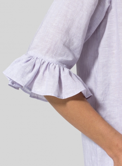 Linen Ruffle Stand Collar Top