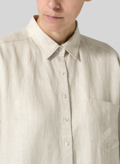 Linen Dropped Shoulder Long Blouse