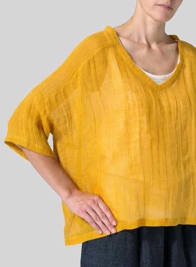 Woven Linen Deep V-neck Top