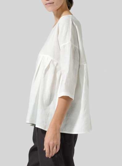 Linen Dropped Shoulder Pleated Box Top