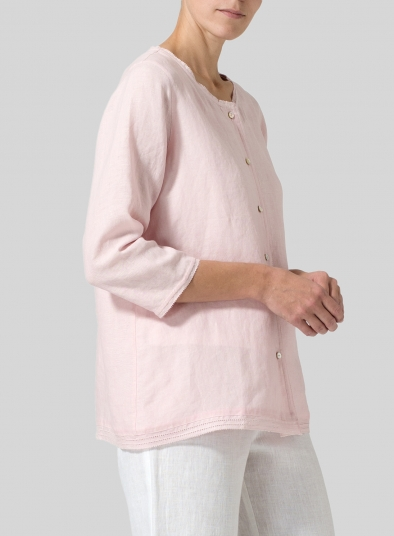 Lightweight Linen Embroidered Hemline Top