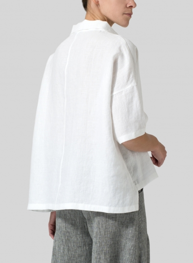 Linen Band Collar Boxy Top