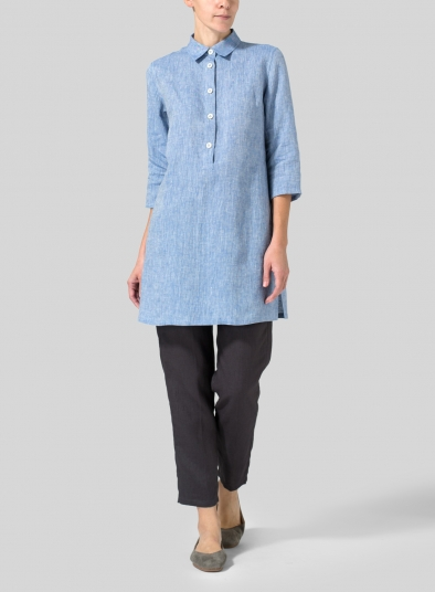 Linen Straight Fit Shirt Collar Tunic