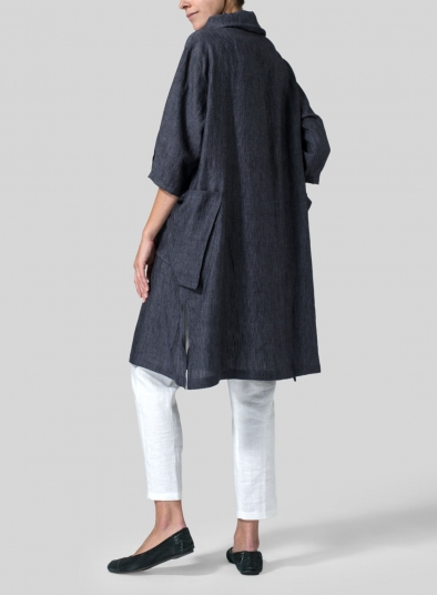 Linen Cowl Neck Oversized Tunic