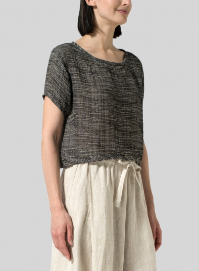 Gauze Linen Cap Sleeves Top