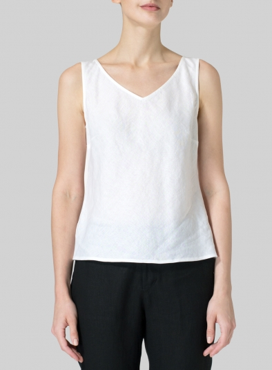 Linen V-Neck Sleeveless Bias Cut Tank