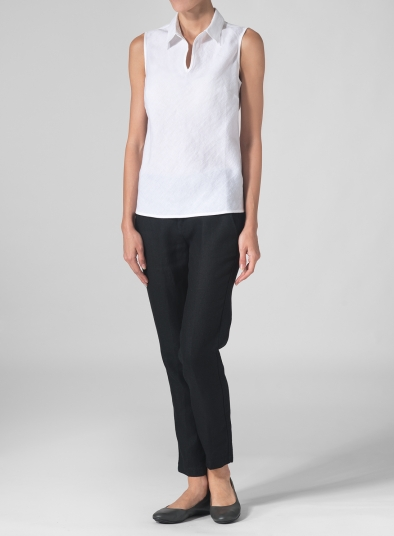 Linen Sleeveless Bias Cut Top