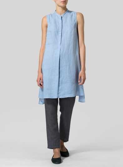 Linen Sleeveless A-line Long Tunic