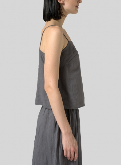Linen Tiered Strap Top